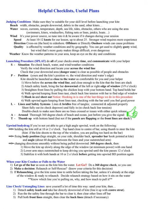 kitesurf lesson plan helpful checklists